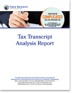 select to visit Tax Transcript Analysis report